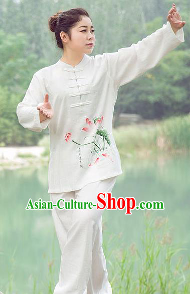 Traditional Chinese Top Gastrodia Kung Fu Costume Martial Arts Kung Fu Training Plated Buttons Hand Painted Lotus Uniform, Tang Suit Gongfu Shaolin Wushu Clothing, Tai Chi Taiji Teacher Suits Uniforms for Women