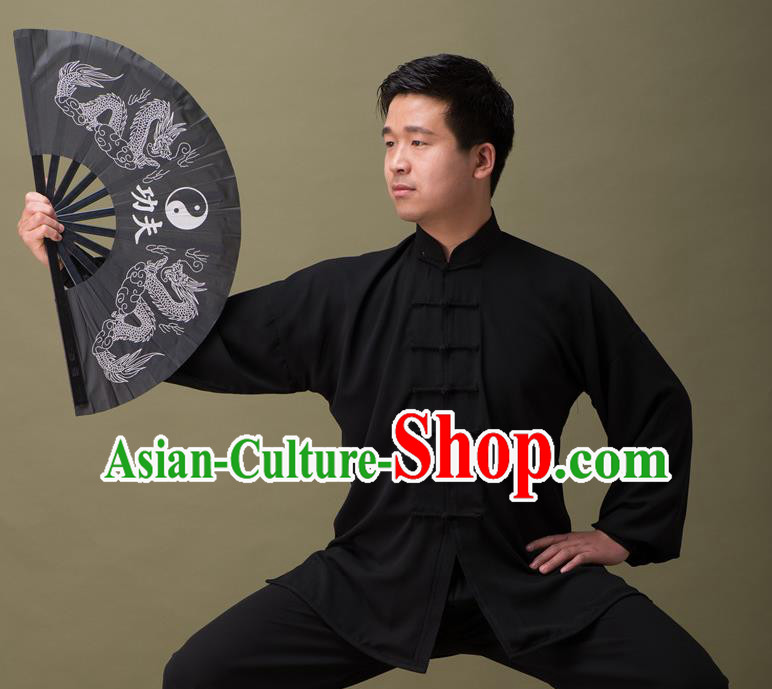 Traditional Chinese Kung Fu Folding Fan Martial Arts Prop Tai Chi Fan, Gongfu Wushu Tai Chi Taiji Teacher Painting Double Dragons Fans for Men for Women