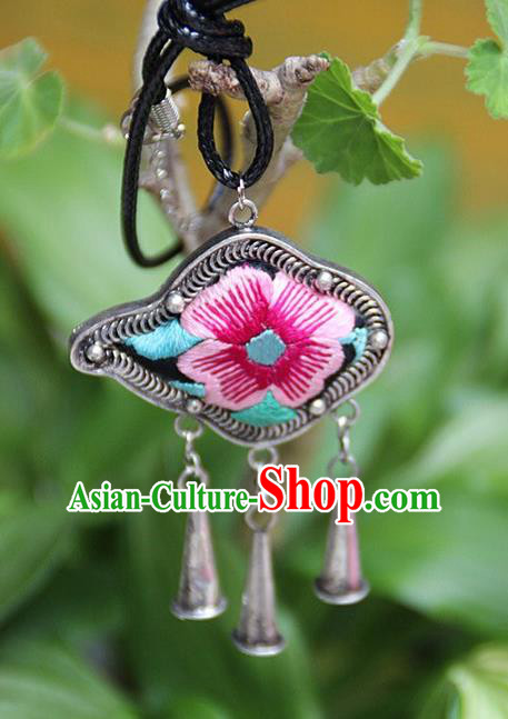 Traditional Chinese Miao Nationality Crafts Hmong Handmade Silver Embroidery Pendant, Necklace Accessories Bells Pendant for Women