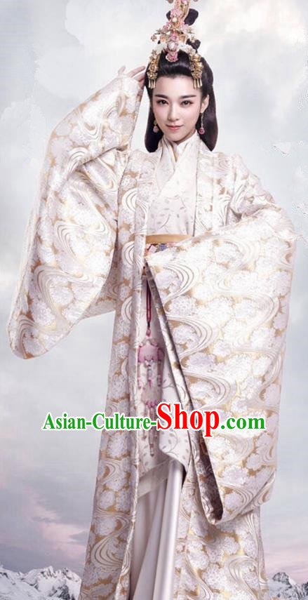 Traditional Ancient Chinese Imperial Consort Costume, Elegant Hanfu Dress Clothing, Chinese Warring States Period Imperial Concubine Princess Tailing Embroidered Clothing for Women