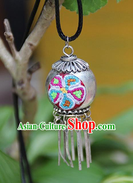 Traditional Chinese Miao Nationality Crafts, Hmong Handmade Miao Silver Embroidery Spherical Pendant, Miao Ethnic Minority Necklace Accessories Bells Pendant for Women