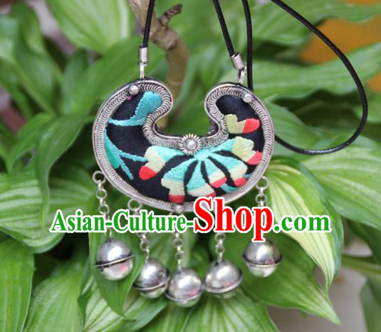 Traditional Chinese Miao Nationality Crafts, Hmong Handmade Miao Silver Embroidery Tassel Pendant, Miao Ethnic Minority Necklace Accessories Bells Pendant for Women