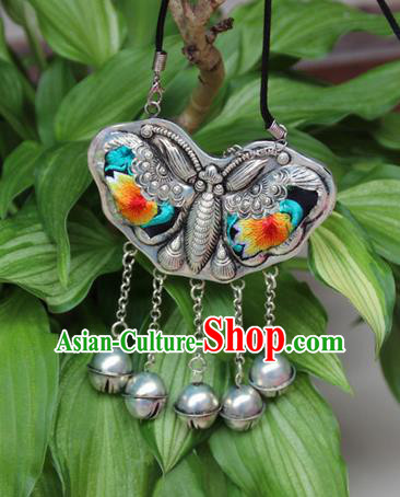 Traditional Chinese Miao Nationality Crafts, Hmong Handmade Miao Silver Embroidery Bells Butterfly Tassel Pendant, Miao Ethnic Minority Necklace Accessories Bells Pendant for Women