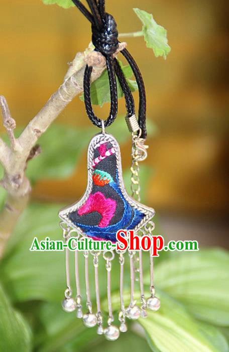 Traditional Chinese Miao Nationality Crafts, Hmong Handmade Miao Silver Embroidery Bells Tassel Pendant, Miao Ethnic Minority Black Rope Necklace Accessories Bells Pendant for Women
