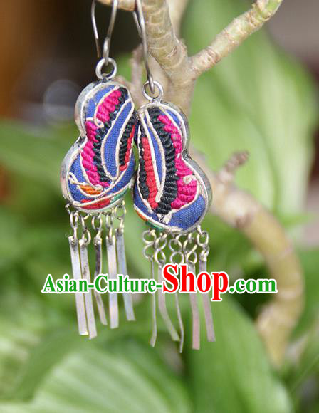 Traditional Chinese Miao Nationality Crafts, Hmong Handmade Embroidery Miao Silver Tassel Earrings, Miao Ethnic Minority Eardrop Accessories Ear Pendant for Women
