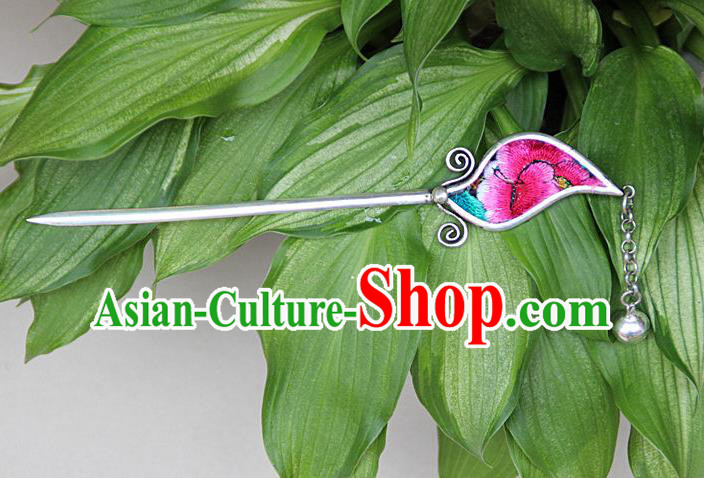 Traditional Chinese Miao Nationality Crafts Jewelry Accessory, Hmong Handmade Embroidery Miao Silver Hairpin, Miao Ethnic Minority Bells Hair Fascinators Hairpins for Women