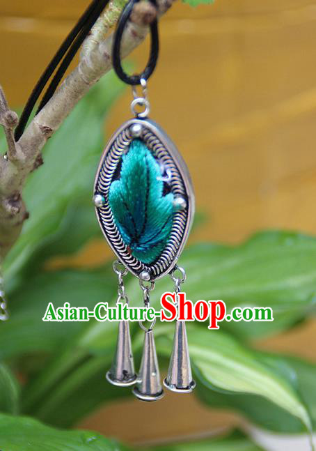 Traditional Chinese Miao Nationality Crafts Jewelry Accessory, Hmong Handmade Miao Silver Embroidery Bells Tassel Pendant, Miao Ethnic Minority Necklace Accessories Sweater Chain Bell Pendant for Women