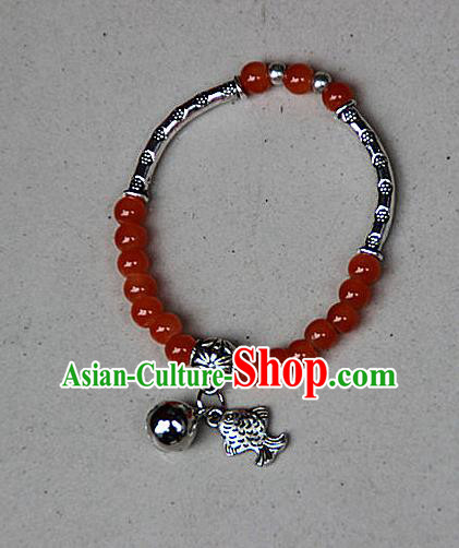 Traditional Chinese Miao Nationality Crafts Jewelry Accessory Bangle, Hmong Handmade Miao Silver Red Beads Bracelet, Miao Ethnic Minority Bells Fish Bracelet Accessories for Women