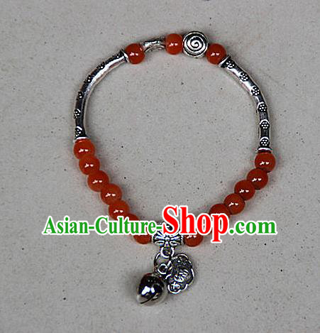Traditional Chinese Miao Nationality Crafts Jewelry Accessory Bangle, Hmong Handmade Miao Silver Red Beads Bracelet, Miao Ethnic Minority Bells Longevity Lock Bracelet Accessories for Women