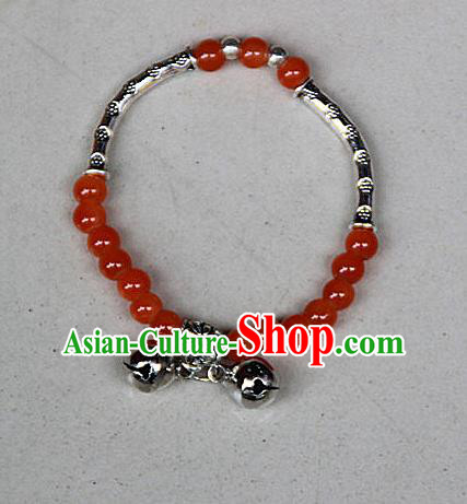 Traditional Chinese Miao Nationality Crafts Jewelry Accessory Bangle, Hmong Handmade Miao Silver Red Beads Bracelet, Miao Ethnic Minority Double Bells Bracelet Accessories for Women