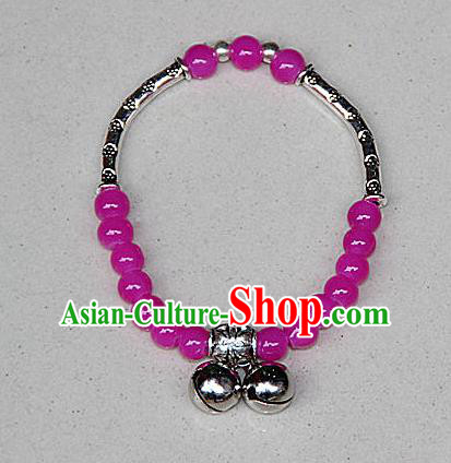 Traditional Chinese Miao Nationality Crafts Jewelry Accessory Bangle, Hmong Handmade Miao Silver Rose Beads Bracelet, Miao Ethnic Minority Double Bells Bracelet Accessories for Women