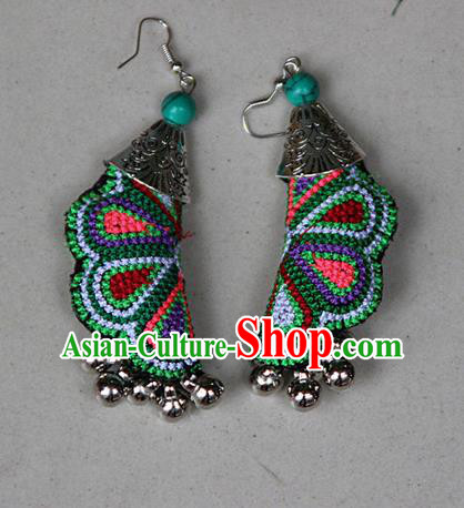Traditional Chinese Miao Nationality Crafts Jewelry Accessory, Hmong Handmade Embroidery Bells Earrings, Miao Ethnic Minority Eardrop Accessories Ear Pendant for Women