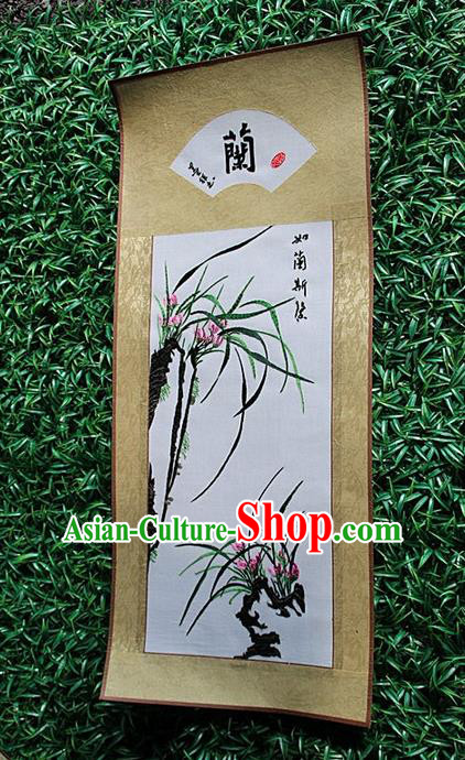 Traditional Chinese Miao Nationality Minority Crafts Hmong Xiangxi Embroidery Decorative Paintings, Embroidery Orchid Scroll Painting for Friends