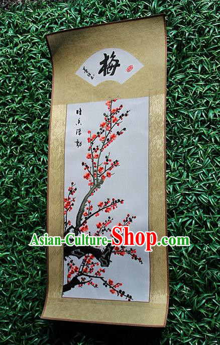 Traditional Chinese Miao Nationality Minority Crafts Hmong Xiangxi Embroidery Decorative Paintings, Embroidery Plum Blossom Scroll Painting for Friends