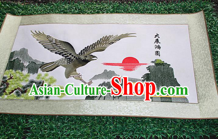 Traditional Chinese Miao Nationality Minority Crafts Hmong Xiangxi Embroidery Decorative Paintings, Embroidery Tercel Meaning Success Scroll Painting for Friends
