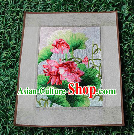 Traditional Chinese Miao Nationality Minority Crafts Hmong Xiangxi Embroidery Decorative Paintings, Embroidery Lotus Scroll Painting for Friends