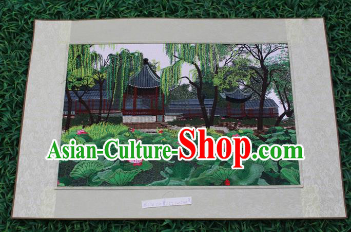Traditional Chinese Miao Nationality Minority Crafts Hmong Xiangxi Embroidery Decorative Paintings, Embroidery Landscape Scroll Painting for Friends