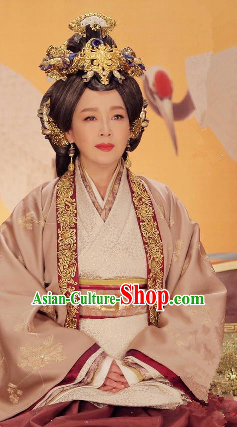 Traditional Ancient Chinese Imperial Empress Dowager Costume and Headwear Complete Set, Elegant Hanfu Palace Lady Queen Mother Dress, Chinese Warring States Period Imperial Empress Tailing Embroidered Phoenix Clothing for Women