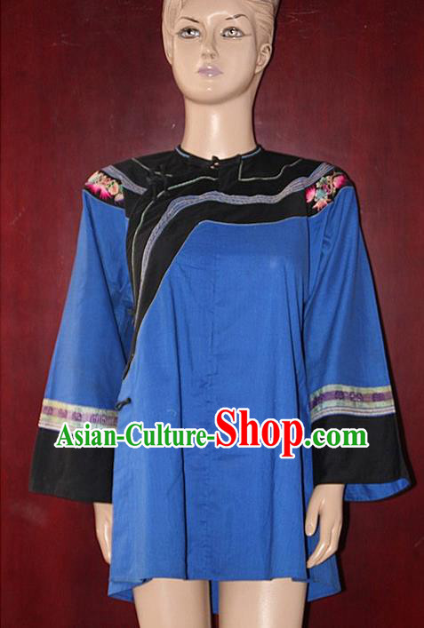 Chinese Hmong Miao Nationality Folk Dance Ethnic Handmade Blouse China Clothing Costume Embroidery Shirt Ethnic Blouse Cultural Dances Costumes for Women