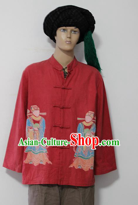 Chinese Hmong Miao Nationality Folk Dance Ethnic Batik Male Tops China Clothing Costume Ethnic Blouse Cultural Dances Costumes for Men