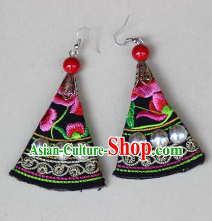 Traditional Chinese Miao Ethnic Minority Palace Jewelry Accessories Embroidery Earrings, Hmong Handmade Earrings for Women