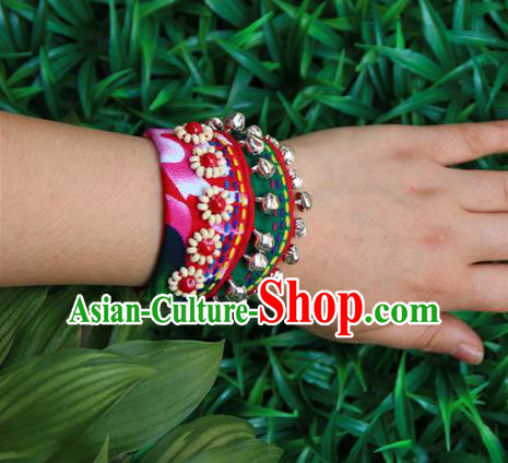Traditional Chinese Miao Ethnic Minority Palace Jewelry Accessories Canvas Wristbands Bracelet, Hmong Handmade Bracelet Bells Chain Bracelet for Women