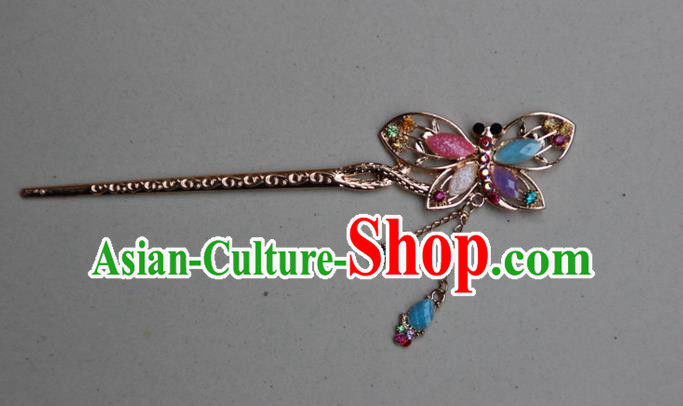 Traditional Chinese Miao Ethnic Minority Palace Hair Jewelry Accessories, Hmong Handmade Butterfly Tassel Hairpins, Miao Ethnic Jewelry Accessories Hair Claw for Women