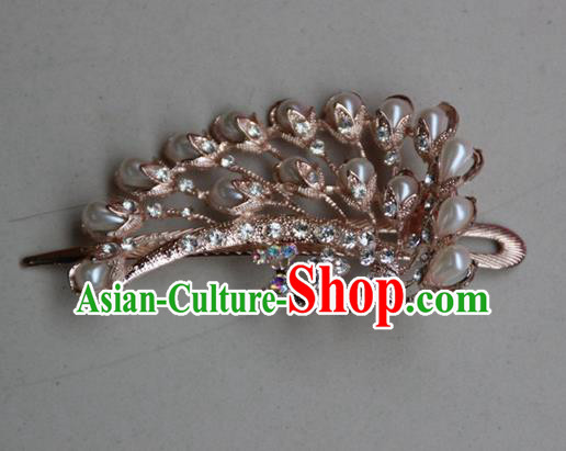 Traditional Chinese Miao Ethnic Minority Palace Hair Jewelry Accessories, Hmong Handmade Peacock Hairpins, Miao Ethnic Jewelry Accessories Hair Claw for Women