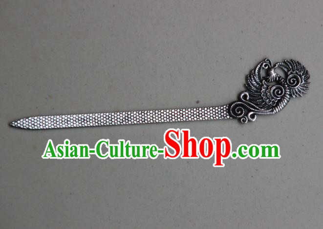 Traditional Chinese Ancient Miao Ethnic Minority Palace Hair Jewelry Accessories, Hmong Handmade Silver Phoenix Hairpins, Miao Ethnic Jewelry Accessories Hair Claw for Women