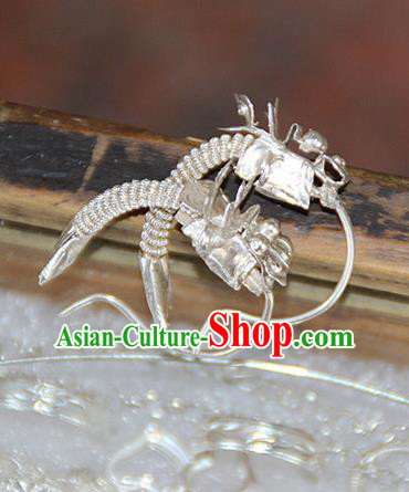 Traditional Chinese Ancient Miao Ethnic Minority Palace Earrings, Hmong Handmade Silver Amulet Earrings for Women