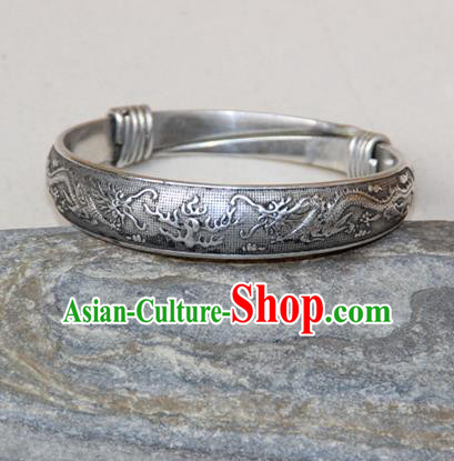 Traditional Chinese Miao Ethnic Minority Miao Silver Double Chinese Dragon Bracelet, Hmong Handmade Bracelet Jewelry Accessories for Women