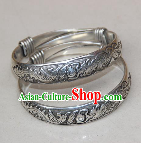 Traditional Chinese Miao Ethnic Minority Miao Silver Chinese Dragon Bracelet, Hmong Handmade Bracelet Jewelry Accessories for Women