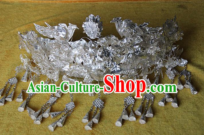 Traditional Chinese Miao Ethnic Minority Silver Necklace for Women