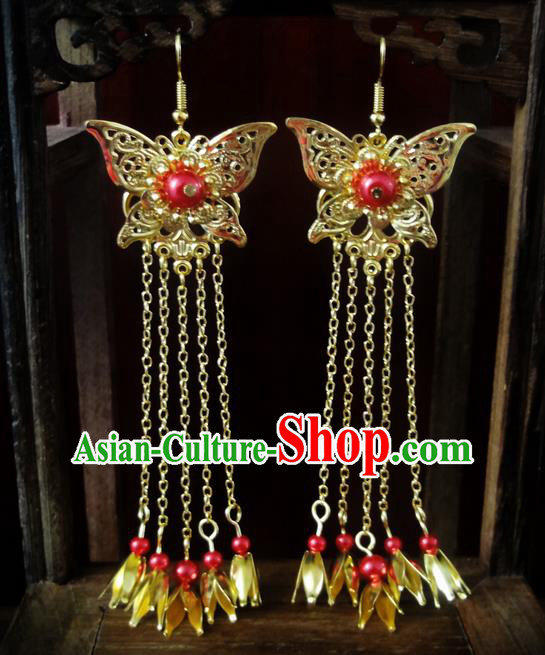 Traditional Handmade Chinese Ancient Classical Imperial Emperess Wedding Butterfly Tassel Earrings for Women