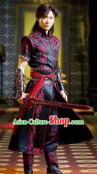 Traditional Chinese Ancient Costumes Ancient Chinese Cosplay Swordsman Knight Costume Complete Set for Men
