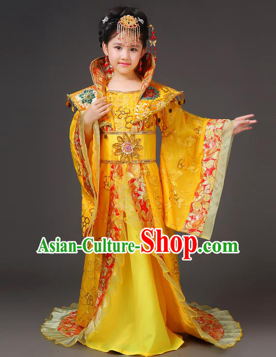 Traditional Ancient Chinese Imperial Emperess Costume, Chinese Wedding Dress, Cosplay Chinese Peri Imperial Princess Tailing Clothing Hanfu for Kids