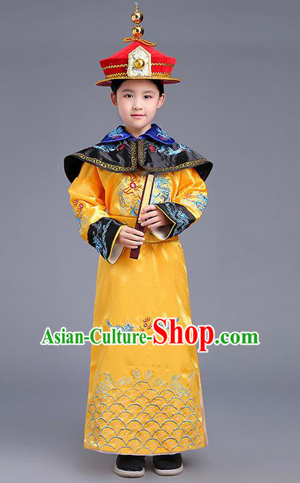 Traditional Ancient Chinese Imperial Emperor Costume, Chinese Qing Dynasty Children Dress, Cosplay Chinese Imperial King Clothing for Kids
