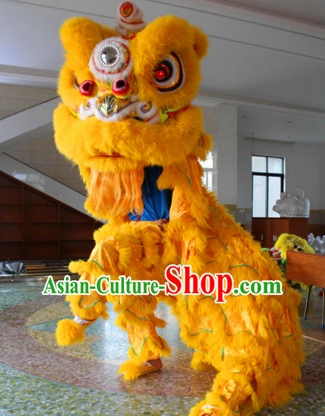 Yellow Folk Art NEW 100_ Natural Wool Chinese Lion Dance Costumes Complete Set