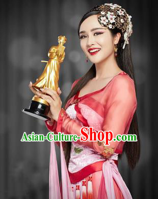 Traditional Ancient Chinese Dance Costume, Chinese Han Dynasty Dress, Cosplay Chinese Peri Imperial Princess Embroidered Clothing Hanfu for Women