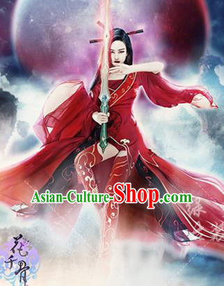 Traditional Ancient Chinese Imperial Emperess Costume, Chinese Tang Dynasty Red Dress, Cosplay Game Characters Chinese Peri Imperial Princess Embroidered Clothing for Women