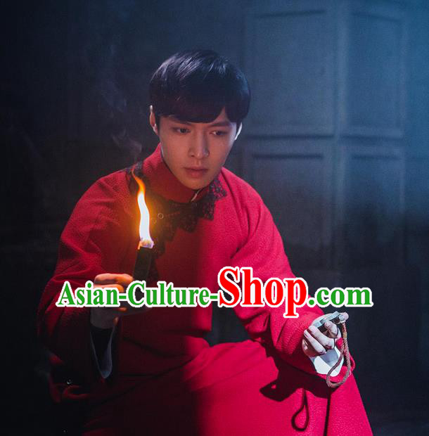 Traditional Ancient Chinese Republic of China Red Gown Robes Qing Dynasty Minguo Costumes for Men