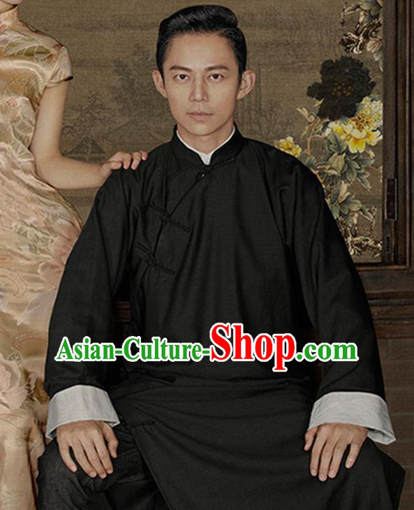 Traditional Ancient Chinese Republic of China Red Gown Crosstalk Robes Qing Dynasty Minguo Costumes for Men