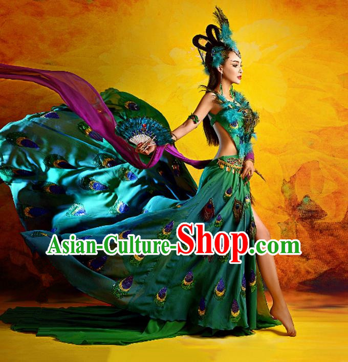 Traditional Ancient Indian Palace Sari Peacock Costumes, Indian Young Lady Belly Dance Dress for Women