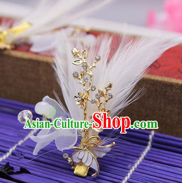 Traditional Handmade Chinese Ancient Classical Hair Accessories Bride Wedding Hairpin, Hanfu Feather Hair Claws for Women