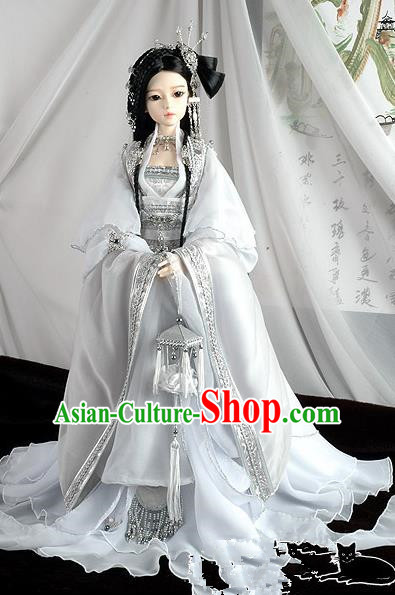 Traditional Ancient Chinese Imperial Princess Costume, Chinese Han Dynasty Young Lady Dress, Cosplay Chinese Peri Princess White Clothing for Women