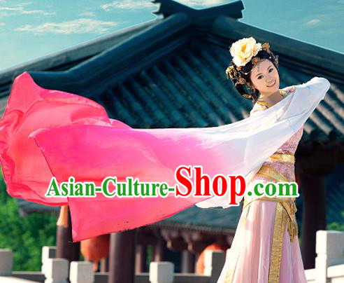 Traditional Ancient Chinese Imperial Princess Classical Dance Costume, Chinese Han Dynasty Young Lady Water Sleeves Dance Dress, Cosplay Chinese Peri Princess Clothing for Women