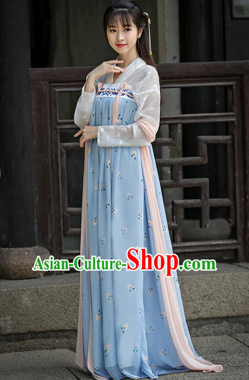 Traditional Ancient Chinese Imperial Emperess Costume, Chinese Tang Dynasty Dance Dress, Chinese Peri Imperial Princess Embroidered Hanfu Clothing for Women