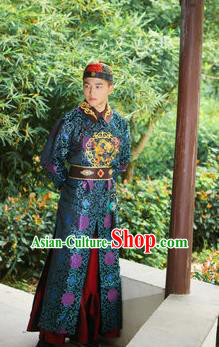 Traditional Ancient Chinese Qing Dynasty Imperial Prince Robes, Manchu Imperial Emperor Costumes for Men