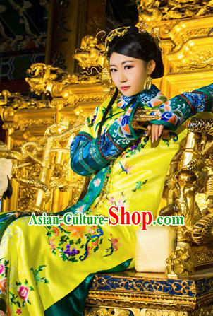 Traditional Ancient Chinese Imperial Emperess Costume, Chinese Qing Dynasty Manchu Lady Dress, Cosplay Chinese Manchu Minority Princess Consort Clothing for Women