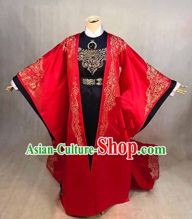 Traditional Ancient Chinese Imperial Emperor Costume, Chinese Han Dynasty Male Wedding Dress, Cosplay Chinese Imperial Prince Embroidered Clothing for Men